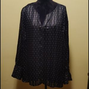 The Limited Plus Size 3X Long Sleeve Black Blouse
